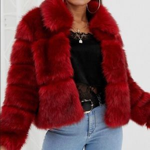 Beautiful feathery faux fur coat red